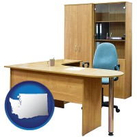 washington office furniture (a desk, chair, bookcase, and cabinet)