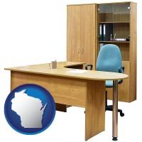wisconsin office furniture (a desk, chair, bookcase, and cabinet)