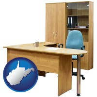 west-virginia office furniture (a desk, chair, bookcase, and cabinet)