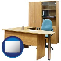 wyoming office furniture (a desk, chair, bookcase, and cabinet)
