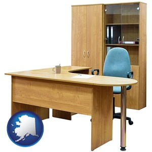office furniture (a desk, chair, bookcase, and cabinet) - with Alaska icon