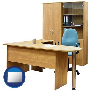 office furniture (a desk, chair, bookcase, and cabinet) - with Colorado icon