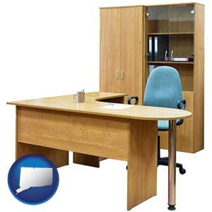 office furniture (a desk, chair, bookcase, and cabinet) - with Connecticut icon