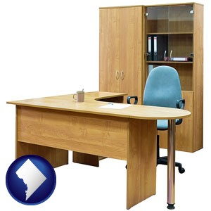 office furniture (a desk, chair, bookcase, and cabinet) - with Washington, DC icon