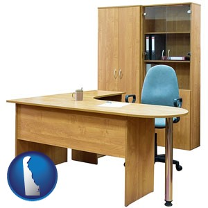 office furniture (a desk, chair, bookcase, and cabinet) - with Delaware icon