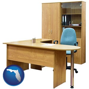 office furniture (a desk, chair, bookcase, and cabinet) - with Florida icon