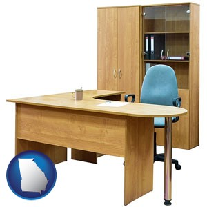 office furniture (a desk, chair, bookcase, and cabinet) - with Georgia icon