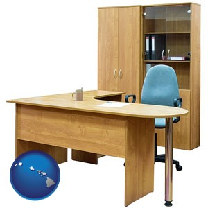 office furniture (a desk, chair, bookcase, and cabinet) - with Hawaii icon