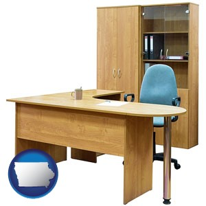 office furniture (a desk, chair, bookcase, and cabinet) - with Iowa icon