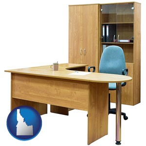 office furniture (a desk, chair, bookcase, and cabinet) - with Idaho icon