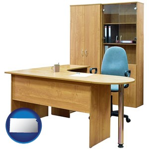 office furniture (a desk, chair, bookcase, and cabinet) - with Kansas icon