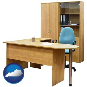 office furniture (a desk, chair, bookcase, and cabinet) - with Kentucky icon