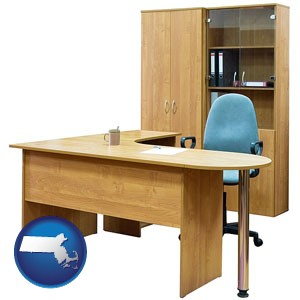 office furniture (a desk, chair, bookcase, and cabinet) - with Massachusetts icon