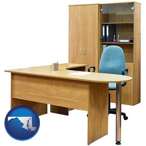 office furniture (a desk, chair, bookcase, and cabinet) - with Maryland icon