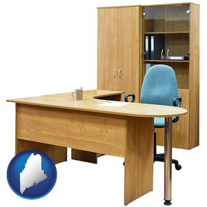 office furniture (a desk, chair, bookcase, and cabinet) - with Maine icon