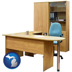 office furniture (a desk, chair, bookcase, and cabinet) - with Michigan icon