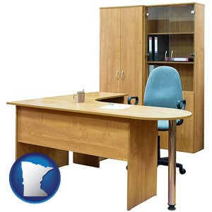 office furniture (a desk, chair, bookcase, and cabinet) - with Minnesota icon