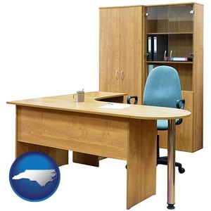 office furniture (a desk, chair, bookcase, and cabinet) - with North Carolina icon