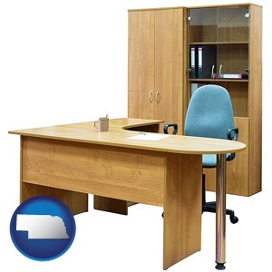 office furniture (a desk, chair, bookcase, and cabinet) - with Nebraska icon