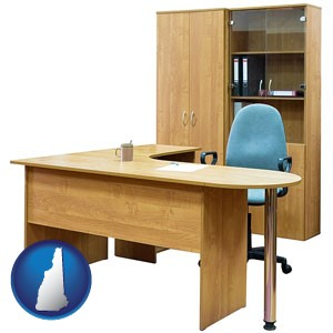 office furniture (a desk, chair, bookcase, and cabinet) - with New Hampshire icon