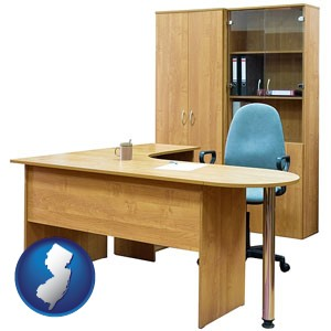 office furniture (a desk, chair, bookcase, and cabinet) - with New Jersey icon