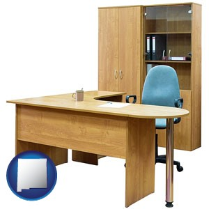office furniture (a desk, chair, bookcase, and cabinet) - with New Mexico icon