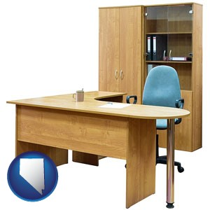 office furniture (a desk, chair, bookcase, and cabinet) - with Nevada icon