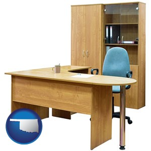 office furniture (a desk, chair, bookcase, and cabinet) - with Oklahoma icon