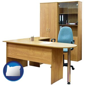 office furniture (a desk, chair, bookcase, and cabinet) - with Oregon icon
