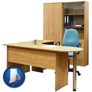 office furniture (a desk, chair, bookcase, and cabinet) - with Rhode Island icon