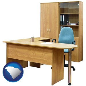 office furniture (a desk, chair, bookcase, and cabinet) - with South Carolina icon