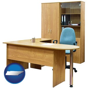 office furniture (a desk, chair, bookcase, and cabinet) - with Tennessee icon