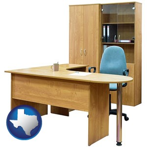office furniture (a desk, chair, bookcase, and cabinet) - with Texas icon