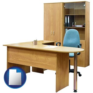 office furniture (a desk, chair, bookcase, and cabinet) - with Utah icon