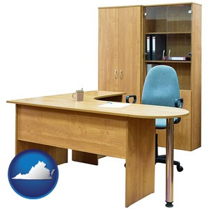 office furniture (a desk, chair, bookcase, and cabinet) - with Virginia icon