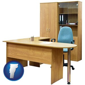 office furniture (a desk, chair, bookcase, and cabinet) - with Vermont icon