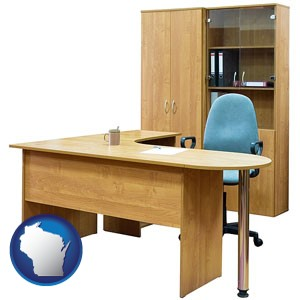 office furniture (a desk, chair, bookcase, and cabinet) - with Wisconsin icon