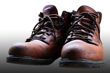 old, brown safety shoes