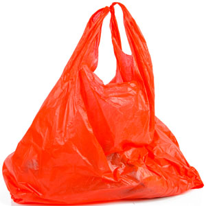 an orange plastic bag