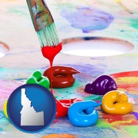 idaho colorful oil paints and paintbrush