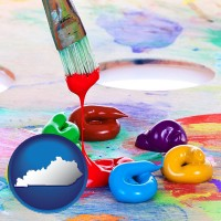 kentucky colorful oil paints and paintbrush