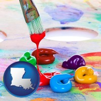 louisiana colorful oil paints and paintbrush