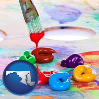maryland colorful oil paints and paintbrush