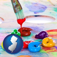 new-jersey colorful oil paints and paintbrush