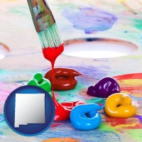 new-mexico colorful oil paints and paintbrush