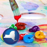 new-york colorful oil paints and paintbrush