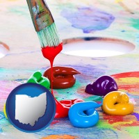 ohio colorful oil paints and paintbrush