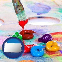 pennsylvania colorful oil paints and paintbrush