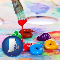 rhode-island colorful oil paints and paintbrush