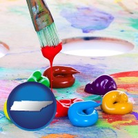 tennessee colorful oil paints and paintbrush